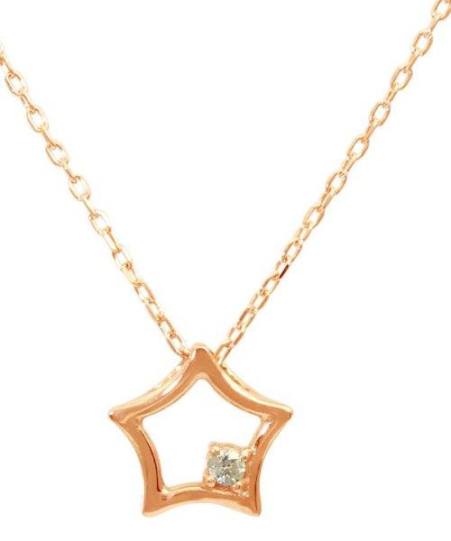 JEWELRY SELECTION(ジュエリーセレクション)/贅沢なオール18金ゴールド!K18ゴールド 天然ダイヤモンド ネックレス 選べる3カラー 【スター/K18PG】/NSUZ12722001CTA40K18PG
