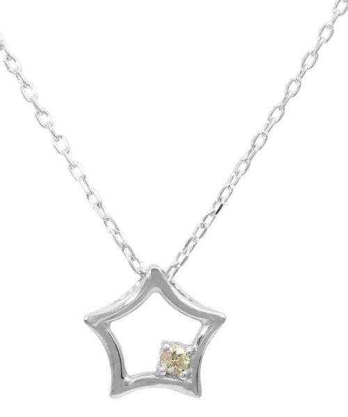 JEWELRY SELECTION(ジュエリーセレクション)/贅沢なオール18金ゴールド!K18ゴールド 天然ダイヤモンド ネックレス 選べる3カラー 【スター/K18WG】/NSUZ12722001CTA40K18WG