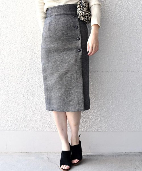 SHIPS WOMEN(シップス ウィメン)/Prefer SHIPS: ソリッドサイドボタンスカート/313200362