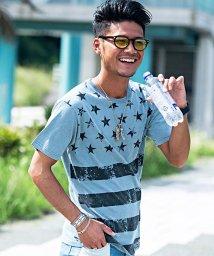 CavariA/CavariA【キャバリア】インディゴ染めかすれ星条旗柄クルーネック半袖Tシャツ/500796100
