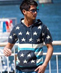 CavariA/CavariA【キャバリア】星条旗柄半袖綿ニットプルパーカー/500795994