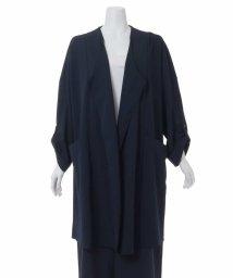 eur3/全2色【大きいサイズ】ノーカラー羽織りコート/500801866