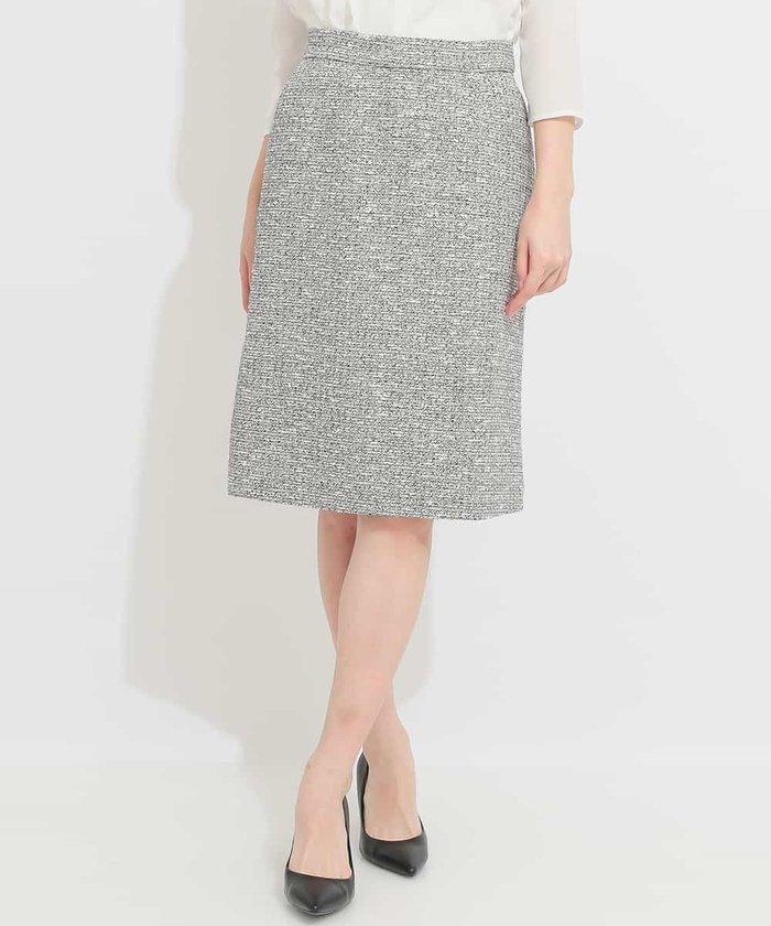 【セットアップ対応商品】スラブラメツイードセミタイトスカート