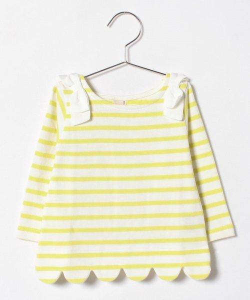 petit main(プティマイン)/肩リボンつき裾スカラップボーダーTシャツ/9681207