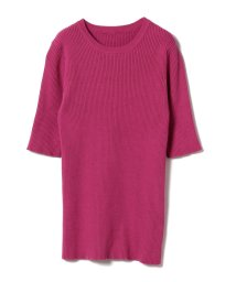 BEAMS OUTLET/Demi-Luxe BEAMS / リブ クルーネック 5分袖プルオーバー/500806831