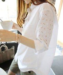 miniministore/花柄透かし刺繍 ブラウス レディース 長袖 ロングシャツ 白 ゆったり トップス 春夏/500807473