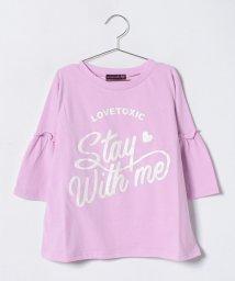 Lovetoxic/ラメロゴプリント入りベルスリーブTシャツ/500768833