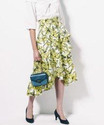 Viaggio Blu/イエローフラワープリントラッフルデザインスカート/500799531