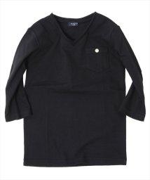 GLAZOS/切りっぱなしデザイン7分袖Tシャツ/500826025