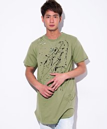 CavariA/CavariA【キャバリア】ペンキ付きロング丈クルーネック半袖Tシャツ/500839883