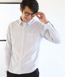 coen/リバーストライプレギュラーカラーシャツ/500840476