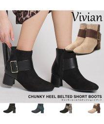 Vivian/チャンキーヒールベルテッドショートブーツ/500844794