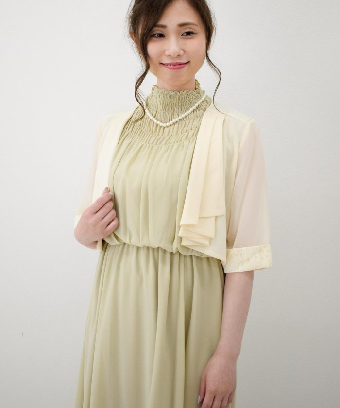 da02bb55c2e6f Eimy Peral(エイミーパール(ドレス)) タックフリル7分袖ボレロ