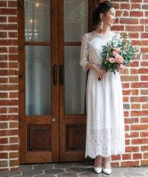 form forma/【結婚式・ウェディングドレス】troisieme chaco/レース×ドットチュール 袖付きロングウェディングドレス/500832064