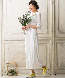 form forma/【結婚式・ウェディングドレス】troisieme chaco/ウェストマーク シフォンスリーブウェディングパンツドレス/500841951