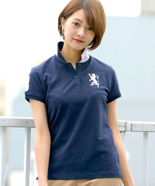 GIORDANOL(ジョルダーノ(レディース))/【ライクラ素材使用】3Dライオン刺繍ポロシャツ/GD18SS05318202
