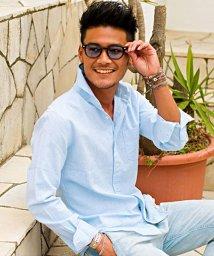 CavariA/CavariA【キャバリア】綿麻ホリゾンタルカラー長袖シャツ/500853017