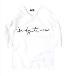 GLAZOS/筆記ロゴデザイン7分袖Tシャツ/500852508