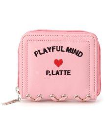 PINK-latte/レースアップ刺繍折りたたみ財布/500854435