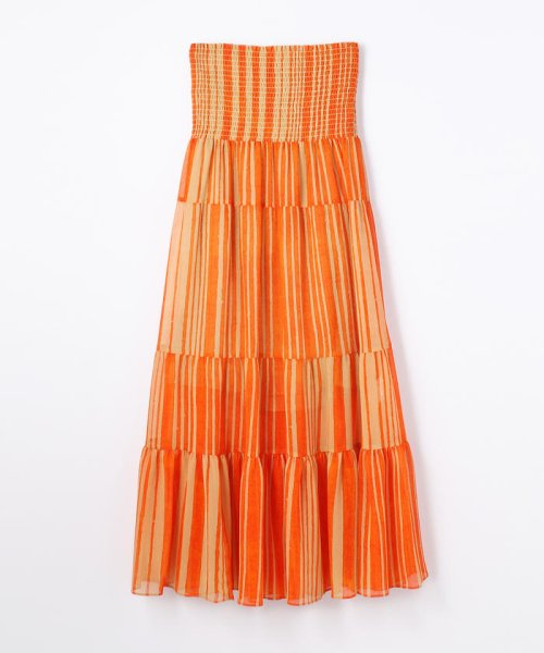 SOULEIADO(SOULEIADO)/クレーププリント ギャザーロングスカート/75058205401