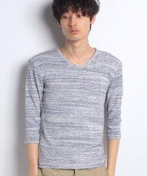STYLEBLOCK/引き揃え杢フライスVネック7分袖Tシャツ/500835310