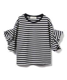 BEAMS OUTLET/Ray BEAMS / ボーダー ラッフルスリーブ Tシャツ/500806758