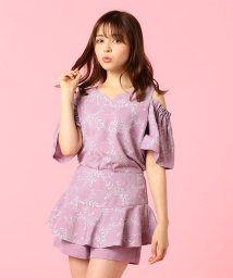 MIIA/【セットアップ対応商品】ラメ刺繍フリルショートパンツ/500860446