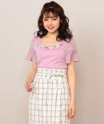 MIIA/襟ぐり透かし刺繍カットソー/500860457