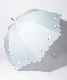pink trick/雨晴兼用 長傘 (UVカット&軽量) カラフルリボンサックスブルー×オフホワイト/500849540