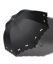 pink trick/雨晴兼用 長傘 (UVカット&軽量) カラフルリボンブラック×オフホワイト/500849541