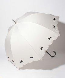 pink trick/雨晴兼用 長傘 (UVカット&軽量) カラフルリボンオフホワイト×ブラック/500849542