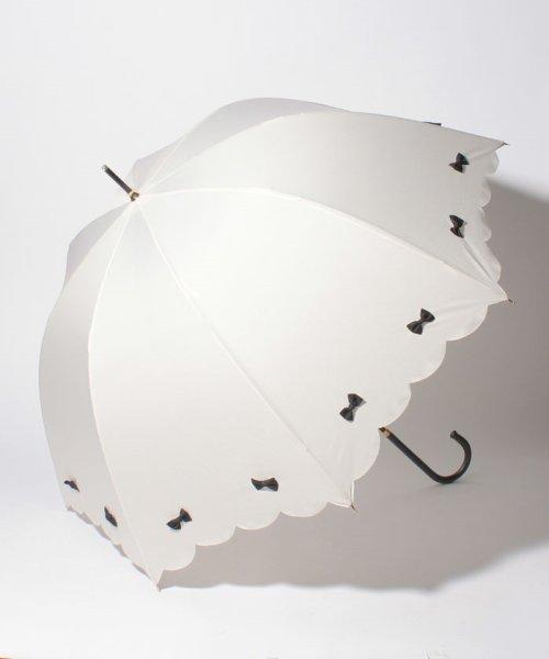 pink trick(ピンクトリック)/雨晴兼用 長傘 (UVカット&軽量) カラフルリボンオフホワイト×ブラック/87305