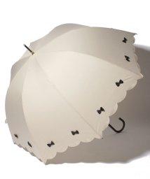 pink trick/雨晴兼用 長傘 (UVカット&軽量) カラフルリボンベージュ×ブラック/500849543