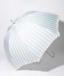 pink trick/雨晴兼用 長傘 (UVカット&軽量) ストライプサックスブルー×オフホワイト/500849545