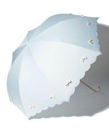 pink trick/雨晴兼用 折傘 (UVカット&軽量) カラフルリボンサックスブルー×オフホワイト/500849550