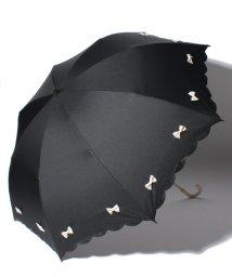 pink trick/雨晴兼用 折傘 (UVカット&軽量) カラフルリボンブラック×オフホワイト/500849551