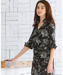 NARA CAMICIE/【セットアップ対応商品】手書きフラワープリントカシュクールシャツ/500860358