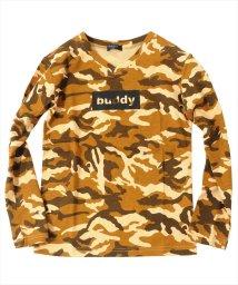 GLAZOS/カモフラ総柄ロゴプリント長袖Tシャツ/500869552