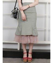 dazzlin/裾チュールマーメイドスカート/500894714