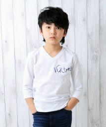 GLAZOS/刺繍デザインポケット7分袖・鹿の子Tシャツ/500898852