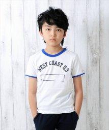 GLAZOS/かすれプリント・リンガー半袖Tシャツ/500898857