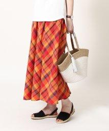 coen/【Market】マドラスチェックロングフレアスカート/500899104