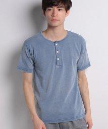 STYLEBLOCK/綿100%インディゴヘンリーネックTシャツ/500881445