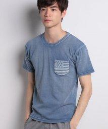 STYLEBLOCK/綿100%インディゴポケット星条旗プリントTシャツ/500881446