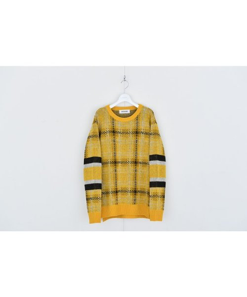 DISCOVERED(DISCOVERED)/Check line sweater/DCAW18KN03