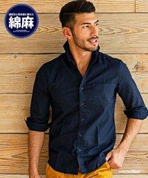 CavariA/CavariA【キャバリア】綿麻ホリゾンタルカラー7分袖シャツ/500906620