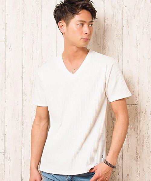CavariA【キャバリア】テレコVネック半袖Tシャツ