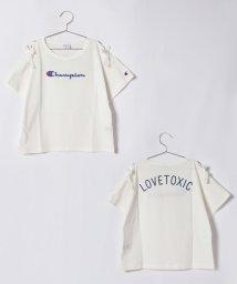 Lovetoxic/Championコラボ肩開きロゴTシャツ/500899145