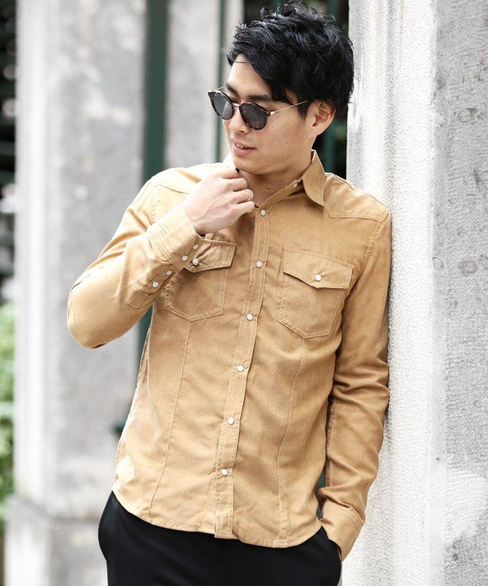 スエードシャツ / シャツ メンズ 長袖シャツ ウエスタンシャツ スウェードシャツ