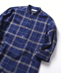 SHIPS JET BLUE/SHIPS JET BLUE: バンドカラー七分袖シャツ/500914903